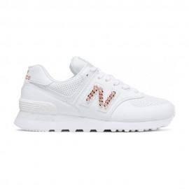 New Balance Sneakers 574 Lea Bianco Metal Catena Donna