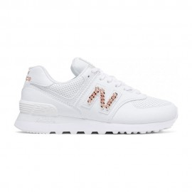 New Balance Sneakers 574 Lea Bianco Metal Catena Donna