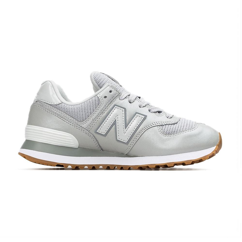 New Balance Sneakers 574 Lea Grigio Argento Donna - Acquista ...