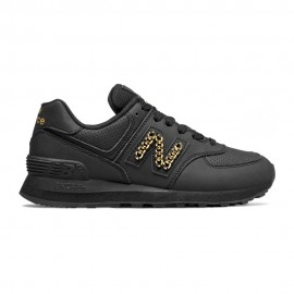 New Balance Sneakers 574 Lea Nero Metal Catena Donna