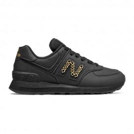 New Balance Sneakers 574 Lea Nero Metal Catena Donna