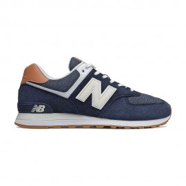New Balance Sneakers 574 Suede Blu Bianco Uomo