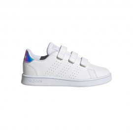 ADIDAS sneakers advantage c bianco iridescent bambina