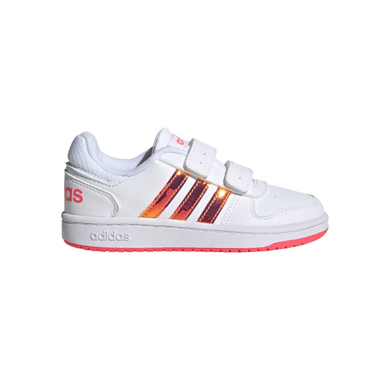 ADIDAS sneakers hoops 2.0 cmf c bianco rosa bambina