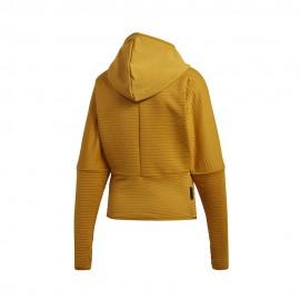 ADIDAS felpa palestra cerniera e cappuccio zone giallo donna
