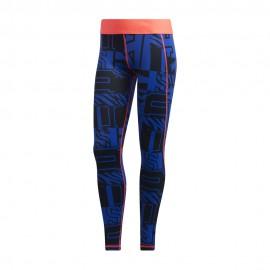 ADIDAS leggings sportivi varsity alphaskin blu donna