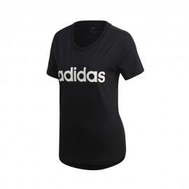 ADIDAS maglietta palestra scritta logo nero donna
