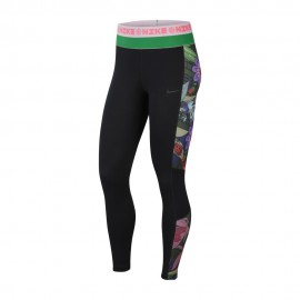 Nike Leggings Sportivi Fantasia Di Lato Nero Donna