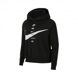 Nike Felpa Con Cappuccio Swoosh Nero Donna