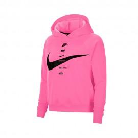 Nike Felpa Con Cappuccio Big Swoosh Fuxia Donna