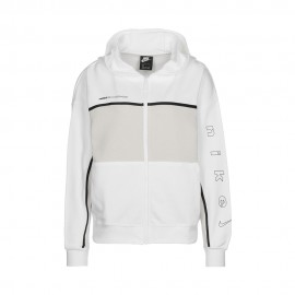 Nike Felpa Con Cappuccio Zip Over Bianco Donna