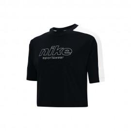Nike T-Shirt Crop Top Nero Bianco Donna
