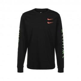 Nike T-Shirt Manica Lunga Swoosh Nero Uomo