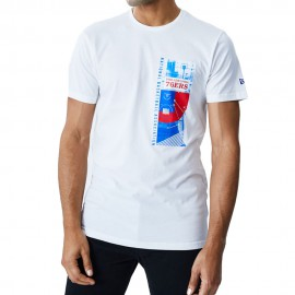 New Era T-Shirt Photo Print Philadelphia Bianco Blu Uomo