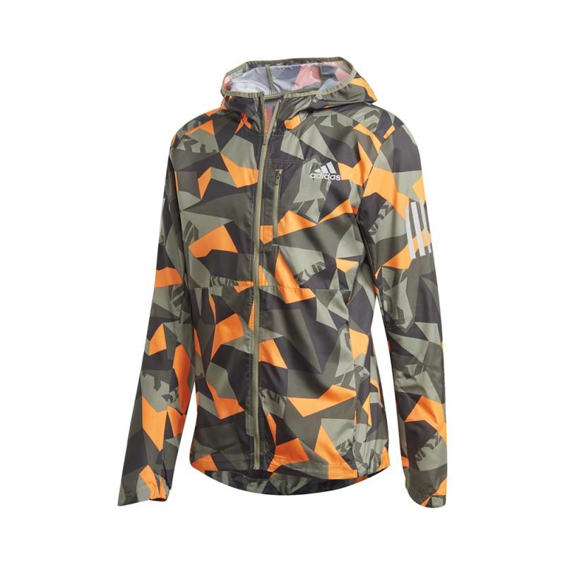 ADIDAS giacca running own camo legacy verde arancio uomo