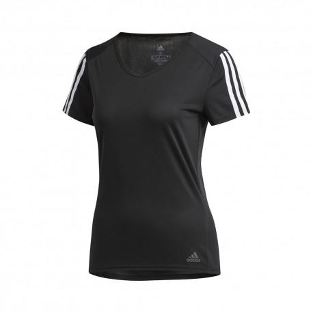 ADIDAS maglia running 3 stripes nero bianco donna
