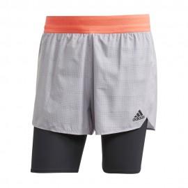 ADIDAS pantaloncini running 2in1 run heat grigio nero uomo