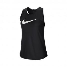 Nike Canotta Running Swoosh Nero Argento Donna