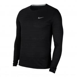 Nike Maglia Running Manica Lunga Miler Nero Argento Uomo