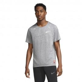 Nike Maglia Running Mezza Manica Brth Rise Ff Dk Grigio Uomo