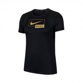 Nike Maglia Running Mezza Manica Icnclsh Nero Oro Donna
