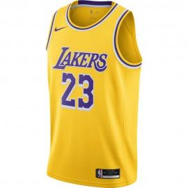 Nike Canotta Basket NBA Los Angeles Lebron Giallo Viola Uomo