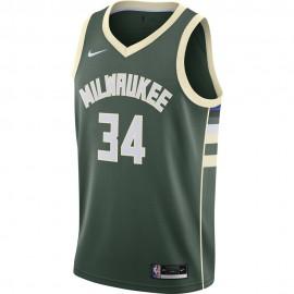 Nike Canotta Basket NBA Milwaukee Anteto Verde Bianco Uomo