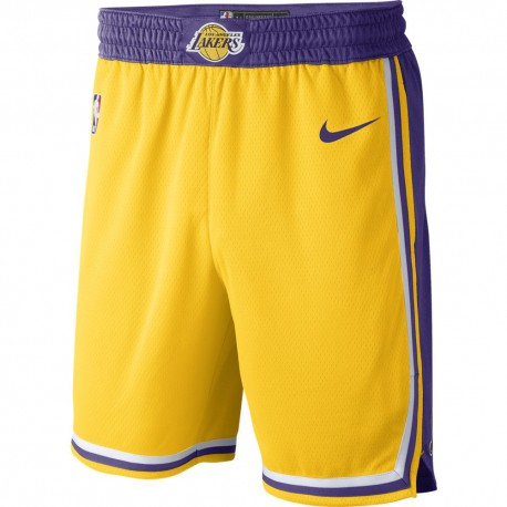 Nike Pantaloncini Basket NBA Lakers Road Giallo Viola Uomo