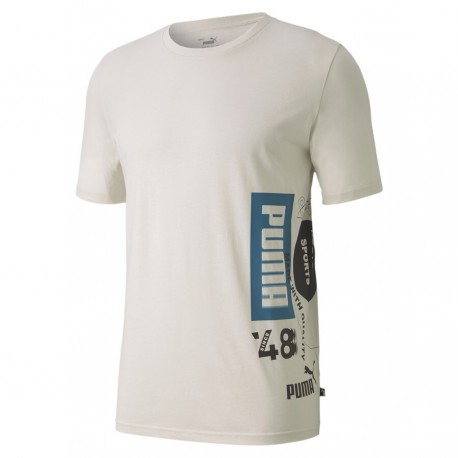 Puma Maglietta Palestra Logo Basso Bianco Uomo