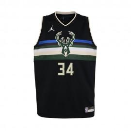 Nike Canotta Basket NBA Jordan State Bucks Nero Bambino