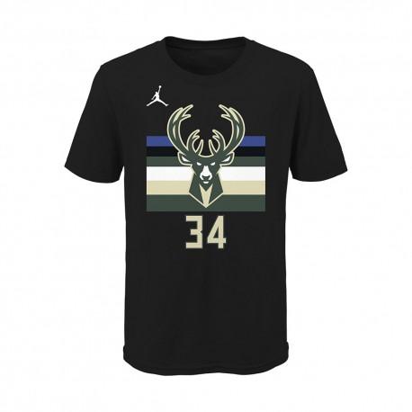 Nike Maglia Basket NBA Jordan Bucks Nero Bianco Bambino