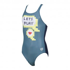 Arena Costume Intero Piscina Let's Play Blu Verde Bambina