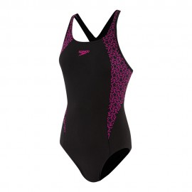 Speedo Costume Intero Piscina Boomstar Splice Nero Rosa Donna