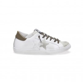 2star Sneakers Low Lea Suede Bianco Verde Uomo