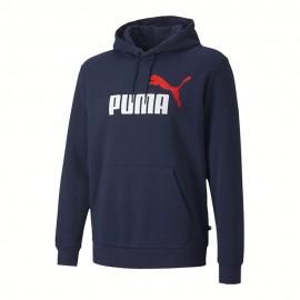 Puma Felpa Con Cappuccio Logo Bicolore Blu Uomo
