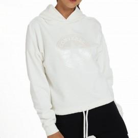 Converse Felpa Con Cappuccio Logo Bianco Donna