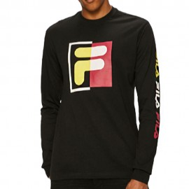 Fila T-Shirt Logo Lime Ml Nero Uomo