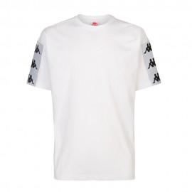 Kappa T-Shirt Banda Larga Bianco Uomo