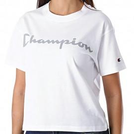 Champion T-Shirt Crop Reflex Bianco Donna