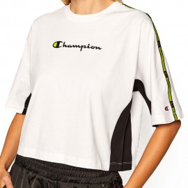 Champion T-Shirt Crop Over Bianco Donna