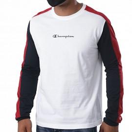 Champion T-Shirt Manica Lunga Color Block Bianco Uomo