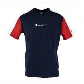 Champion T-Shirt Mezza Manica Color Block Blu Uomo