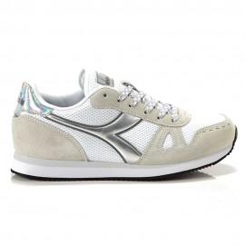 Diadora Sneakers Simple Run Bianco Argento Donna