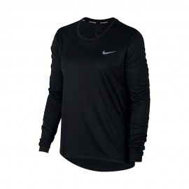 Nike Maglia Running Miler Top Ls Nero Argento Donna