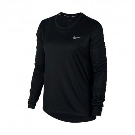 Nike Maglia Running Miler Top Ls Nero Argento Donna