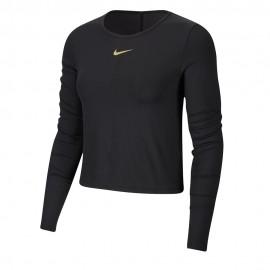 Nike Maglia Running Icon Clash Top Ls Nero Metallico Donna