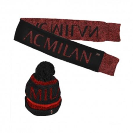 Imma Set Berretto e Sciarpa Milan Nero Rosso Bambino