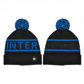 Imma Berretto Calcio Inter Ponpon Jacquard Nero Azzurro Uomo