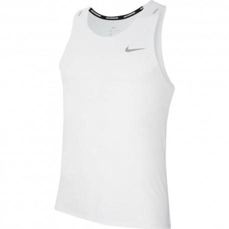 Nike Canotta Runnig Dri-Fit Miler Bianco Grigio Uomo