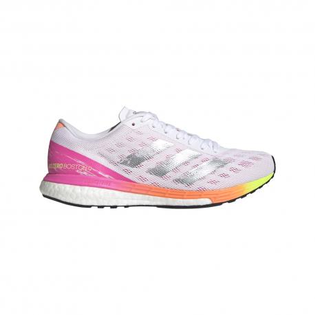 ADIDAS scarpe running adizero boston 9 ftw bianco rosa donna